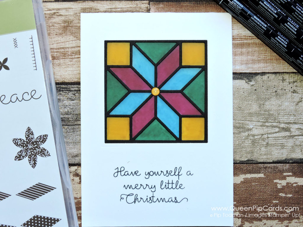 Make A Stained Glass Window card. Looks fabulous on a window sill or mantlepiece. Pip Todman Queen Pip Cards UK Stampin' Up! Demonstrator www.queenpipcards.com fb.me/QueenPipCards #queenpipcards #stampinup #papercraft #inspiringyourcreativity