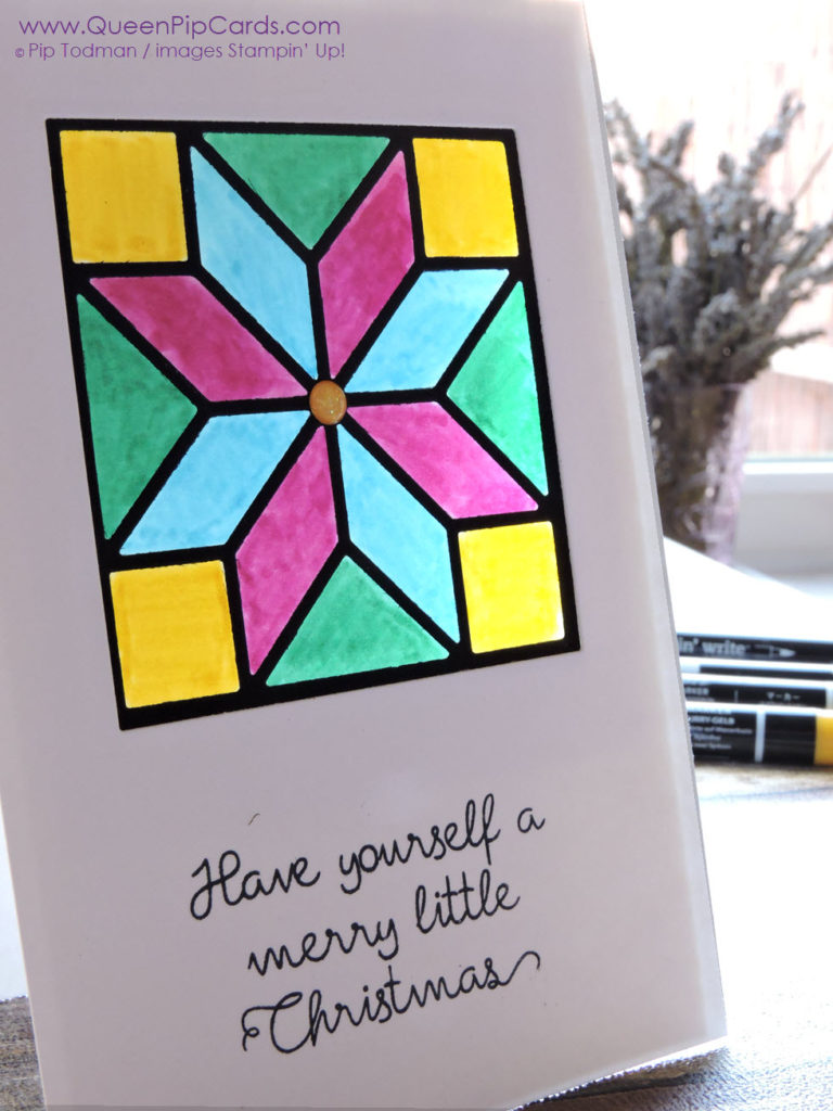Make A Stained Glass Window card using the Quilit Builder dies by Stampin' Up! simply with my step by step guide. Pip Todman Queen Pip Cards UK Stampin' Up! Demonstrator www.queenpipcards.com fb.me/QueenPipCards #queenpipcards #stampinup #papercraft #inspiringyourcreativity