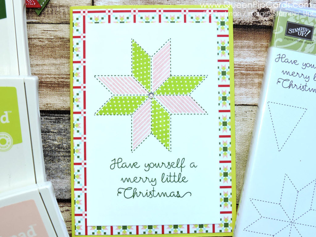 Quick And Simple Card Idea with Christmas Quilt stamps by Stampin' Up! Pip Todman Queen Pip Cards UK Stampin' Up! Demonstrator www.queenpipcards.com fb.me/QueenPipCards #queenpipcards #stampinup #papercraft #inspiringyourcreativity