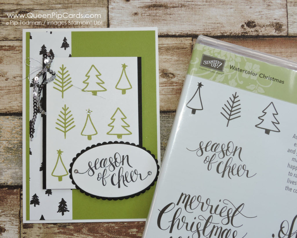 Watercolor Christmas is so versatile. Check out this striking Old Olive, Black & White card. Pip Todman Crafty Coach & Stampin' Up! Demonstrator in the UK Queen Pip Cards www.queenpipcards.com Facebook: fb.me/QueenPipCards #queenpipcards #stampinup #papercraft #inspiringyourcreativity