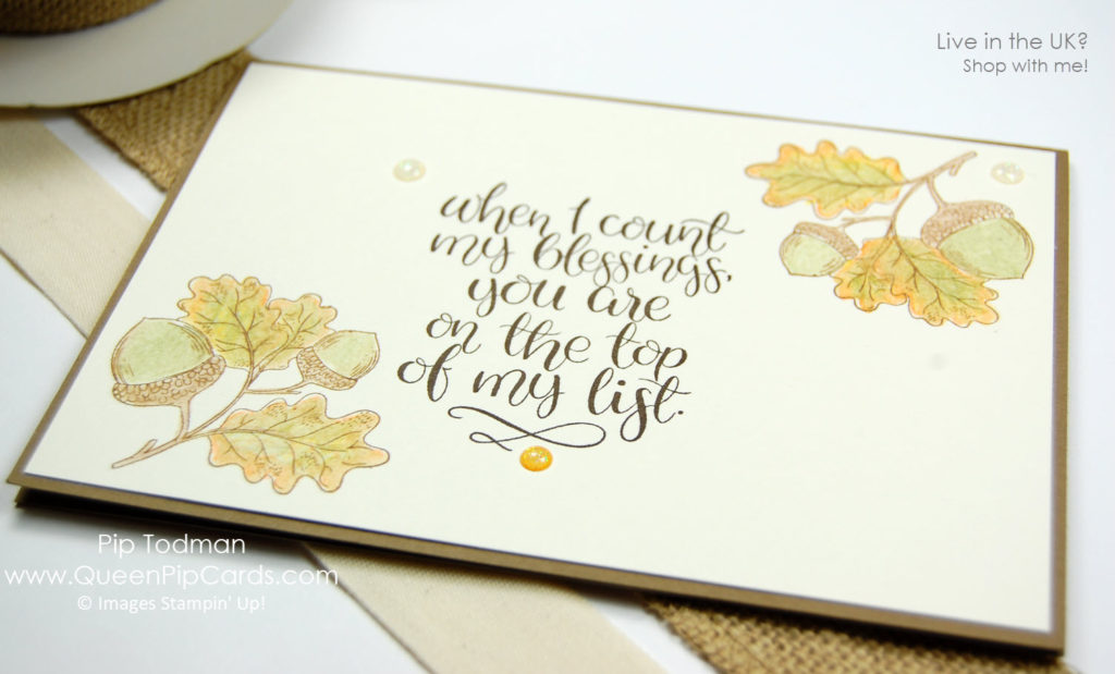 Count My Blessings With The Acorns! I love this sprig of oak leaves and acorns!   Pip Todman Crafty Coach & Stampin' Up! Demonstrator in the UK Queen Pip Cards www.queenpipcards.com Facebook: fb.me/QueenPipCards  #queenpipcards #stampinup #papercraft #inspiringyourcreativity