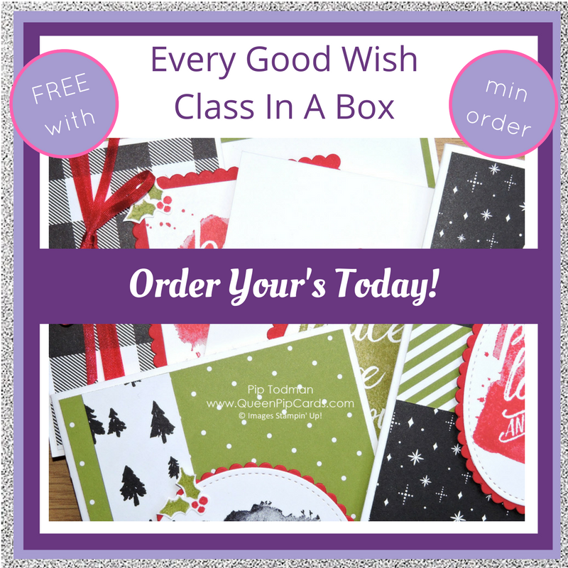 No Shipping Costs Today Only - plus Every Good Wish Class In A Box! Pip Todman Crafty Coach & Stampin' Up! Demonstrator in the UK Queen Pip Cards www.queenpipcards.com Facebook: fb.me/QueenPipCards #queenpipcards #stampinup #papercraft #inspiringyourcreativity