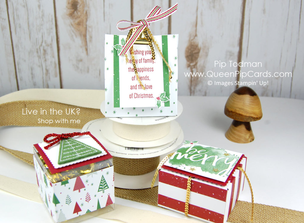 Step Into Christmas with the Stampin' Creative Blog Hop! Mini gift boxes and treat packaging. Pip Todman Crafty Coach & Stampin' Up! Demonstrator in the UK Queen Pip Cards www.queenpipcards.com Facebook: fb.me/QueenPipCards #queenpipcards #stampinup #papercraft #inspiringyourcreativity