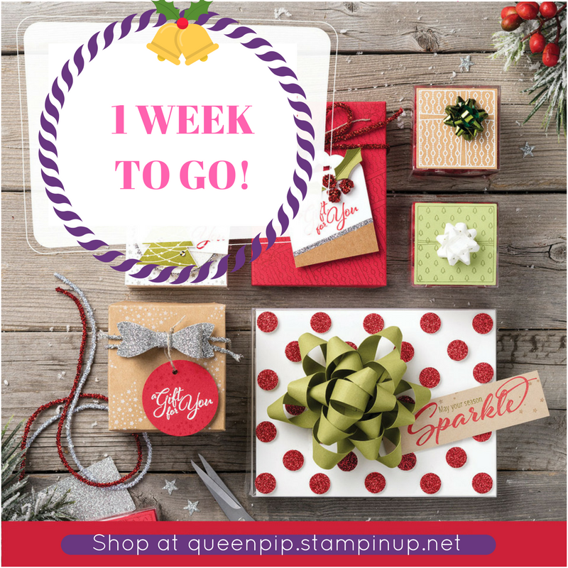 1 week left to get your Christmas Shopping ordered! I do Gift Certificates too! Pip Todman Crafty Coach & Stampin' Up! Demonstrator in the UK Queen Pip Cards www.queenpipcards.com Facebook: fb.me/QueenPipCards #queenpipcards #stampinup #papercraft #inspiringyourcreativity