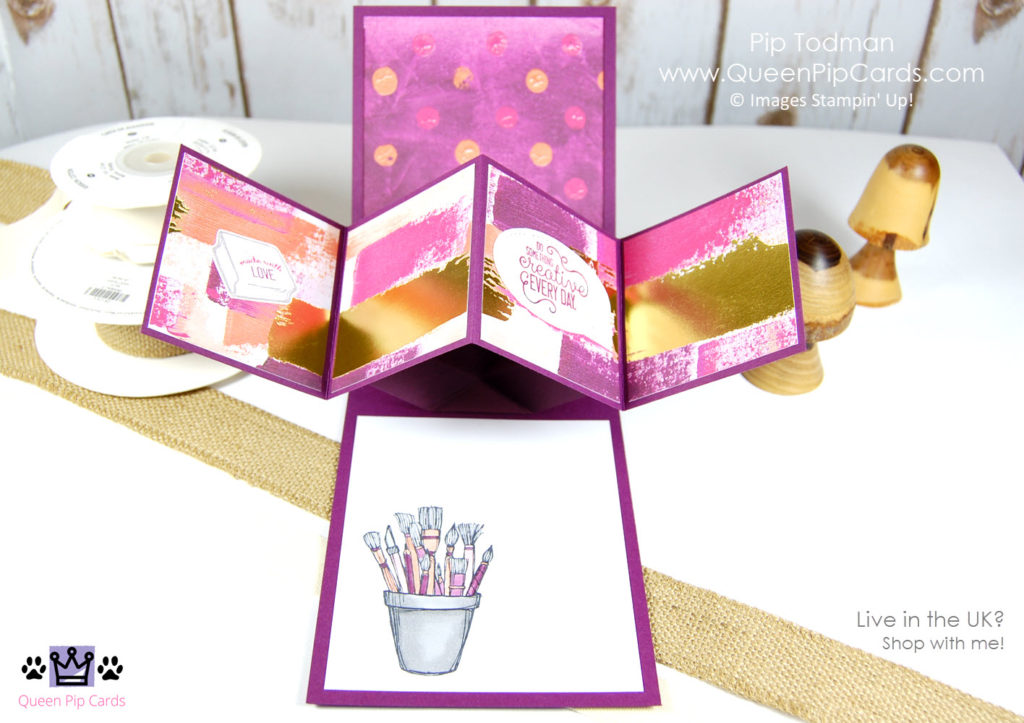 Love and Appreciation with the Stampin' Creative Blog Hop crew. I just love this paper and how it makes my pop-up card pop even more! Stampin' Up! Crafting Forever Painted with Love Watercolor Words Pip Todman Crafty Coach & Stampin' Up! Top UK Demonstrator Queen Pip Cards www.queenpipcards.com Facebook: fb.me/QueenPipCards #queenpipcards #stampinup #papercraft #inspiringyourcreativity