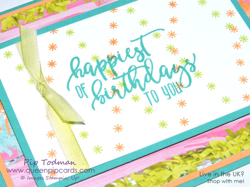 Repeat Stamping with Picture Perfect Birthday stamps. Stampin' Up! Spring 2018 Spring / Summer Picture Perfect Birthday Stamp Set, Picture Perfect Party Designer Series paper stack. Pip Todman Crafty Coach & Stampin' Up! Top UK Demonstrator Queen Pip Cards www.queenpipcards.com Facebook: fb.me/QueenPipCards #queenpipcards #stampinup #papercraft #inspiringyourcreativity