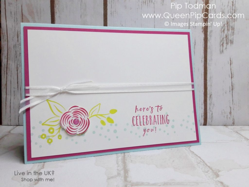 Card Ideas From The Garden. Celebrating You celebration card using Perennial Birthday stamp set. Stampin' Up! Spring 2018 Spring / Summer Pip Todman Crafty Coach & Stampin' Up! Top UK Demonstrator Queen Pip Cards www.queenpipcards.com Facebook: fb.me/QueenPipCards #queenpipcards #stampinup #papercraft #inspiringyourcreativity