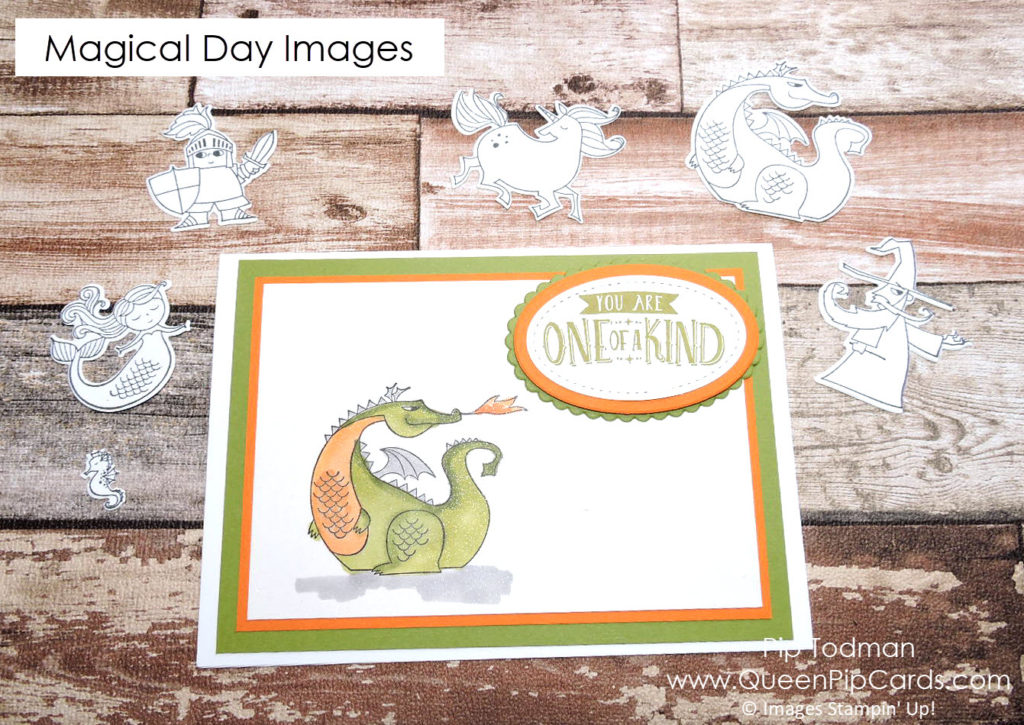 Cute Dragon from Magical Day! From Stampin' Up! Spring / Summer catalogue and available for purchase via my online store. Pip Todman Crafty Coach & Stampin' Up! Top UK Demonstrator Queen Pip Cards www.queenpipcards.com Facebook: fb.me/QueenPipCards #queenpipcards #stampinup #ClassInABox #papercraft #inspiringyourcreativity