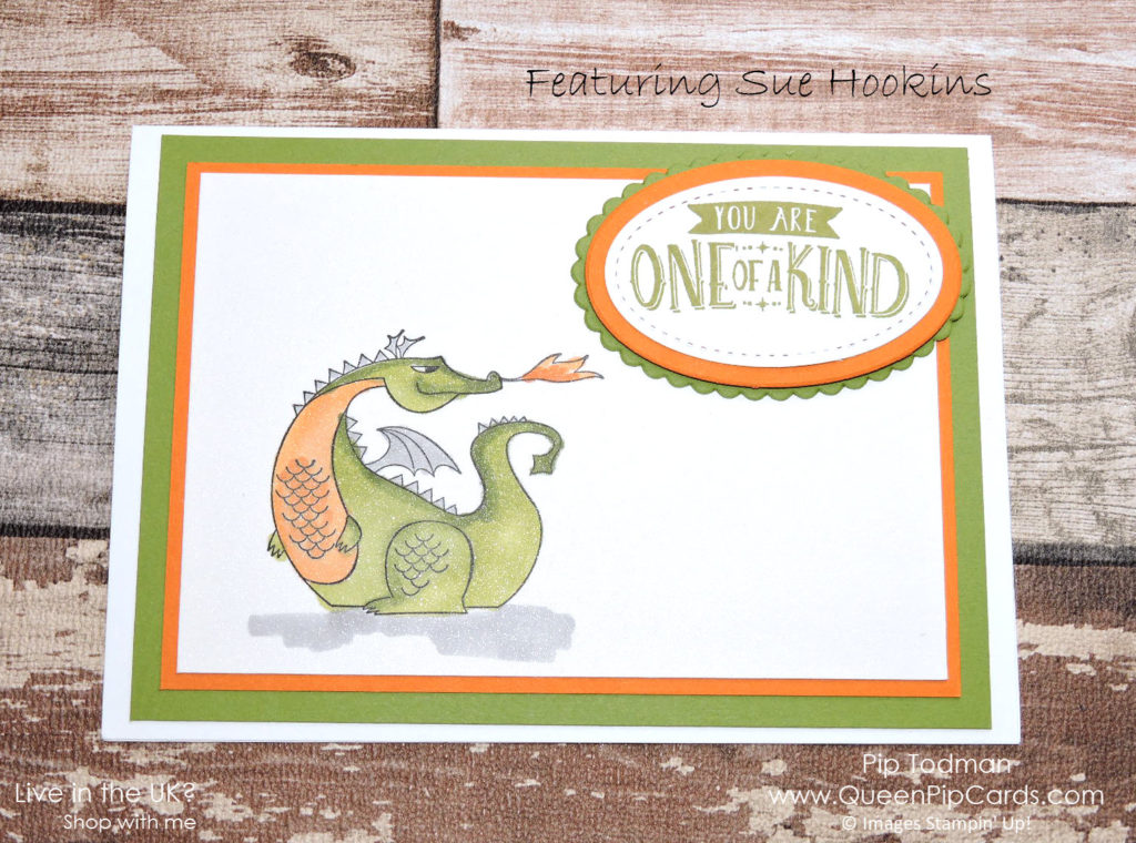 Cute Dragon from Magical Day! From Stampin' Up! Spring / Summer catalogue and available for purchase via my online store. Pip Todman Crafty Coach & Stampin' Up! Top UK Demonstrator Queen Pip Cards www.queenpipcards.com Facebook: fb.me/QueenPipCards #queenpipcards #stampinup #papercraft #inspiringyourcreativity