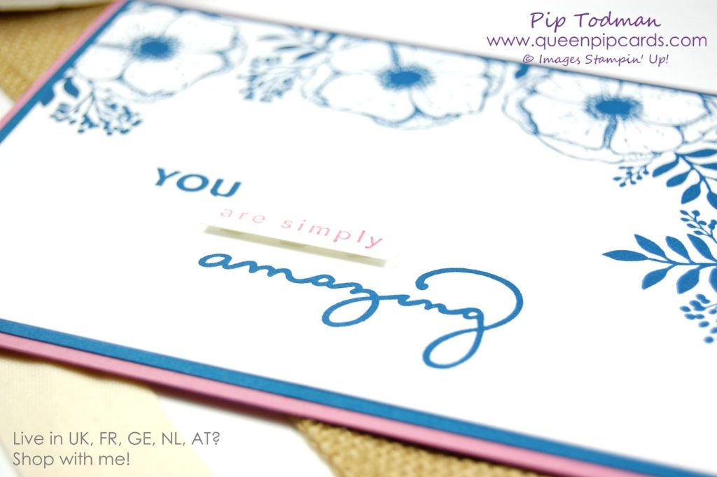 Amazing You Blue Flower Card Idea with retiring Dapper Denim and Sweet Sugarplum! Don't forget to grab your retiring in colour inks and ink refills now before they sell out! Saleabration 2018 Amazing You Stamp Set 2016-2018 In-colors Pip Todman Crafty Coach & Stampin' Up! Top UK Demonstrator Queen Pip Cards www.queenpipcards.com Facebook: fb.me/QueenPipCards #queenpipcards #stampinup #papercraft #inspiringyourcreativity #Saleabration2018
