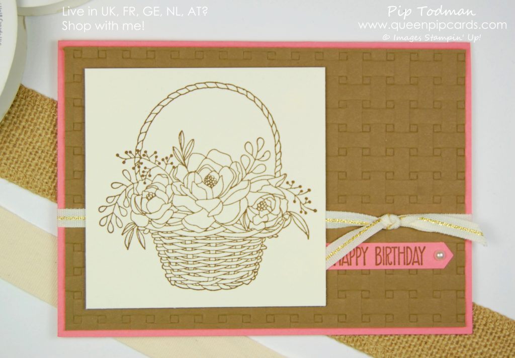 Introducing the Basket Weave Embossing Folder. Isn't it lush! Sale-a-bration 2018 Saleabration 2018 Pip Todman Crafty Coach & Stampin' Up! Top UK Demonstrator Queen Pip Cards www.queenpipcards.com Facebook: fb.me/QueenPipCards #queenpipcards #stampinup #papercraft #inspiringyourcreativity #Saleabration2018
