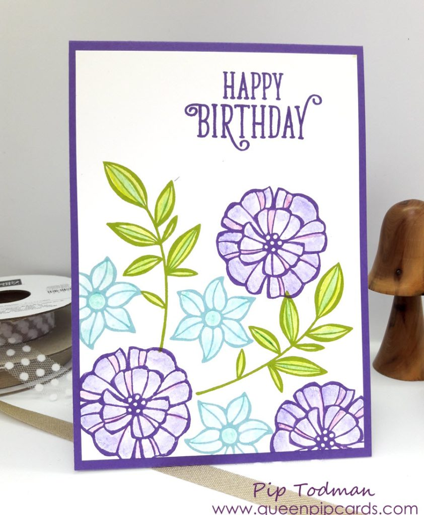 Falling Flowers With Watercolour Pencils from Stampin' Up! - Gorgeous Grape and Balmy Blue, Granny Apple Green and Garden Green. What fabulous combinations!! All Stampin' Up! products are available from my online store here: http://bit.ly/QPCShop Pip Todman Crafty Coach & Stampin' Up! Top UK Demonstrator Queen Pip Cards www.queenpipcards.com Facebook: fb.me/QueenPipCards #queenpipcards #simplystylish #inspiringyourcreativity #stampinup #papercraft