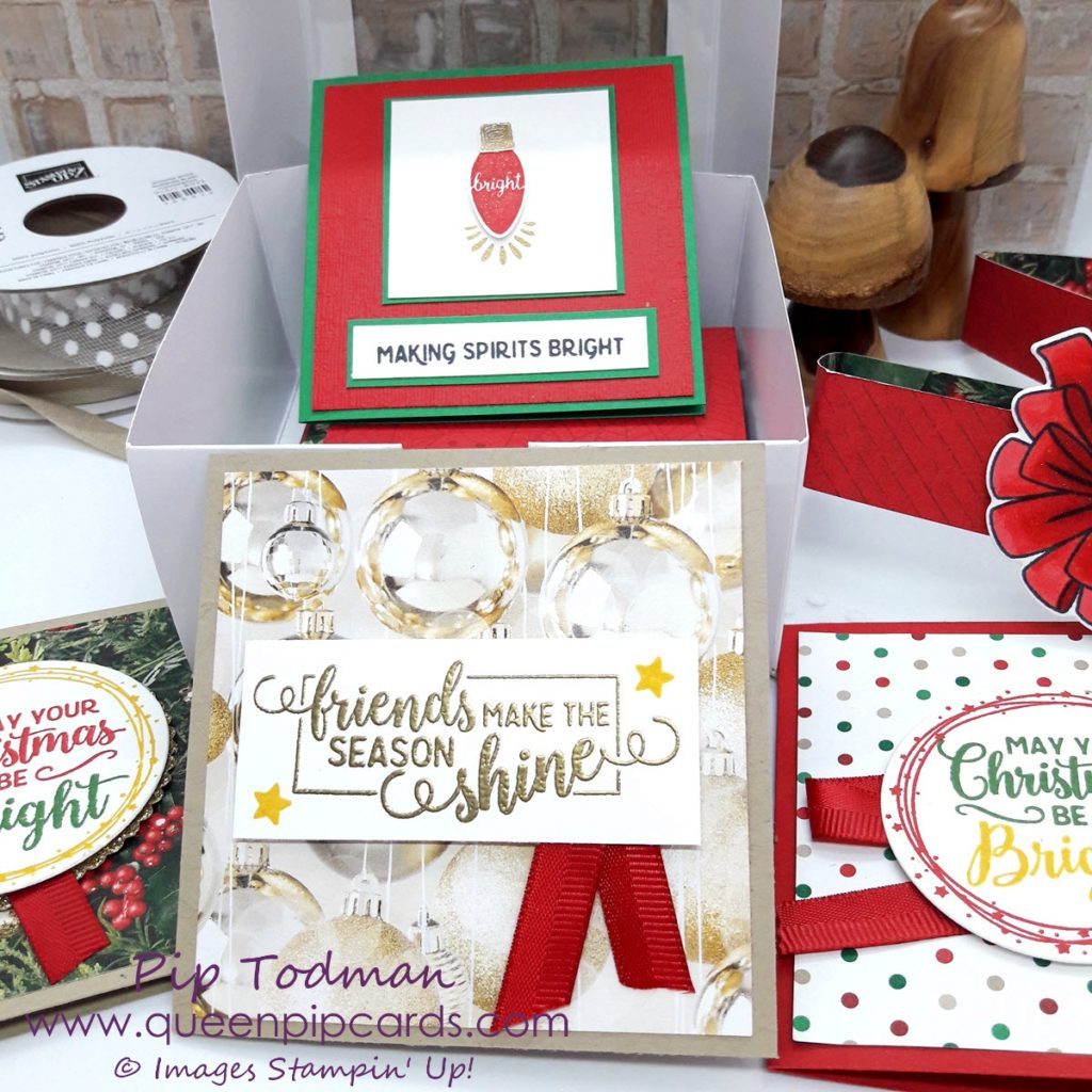 A Box Of Cards for Christmas with Making Christmas Bright Pip Todman Stampin' Up! Making Christmas Bright Bundle and coordinating products is fabulous for all your Christmas crafting! All Stampin' Up! products are / will be available from my online store here: http://bit.ly/QPCShop Pip Todman Crafty Coach & Stampin' Up! Top UK Demonstrator Queen Pip Cards www.queenpipcards.com Facebook: fb.me/QueenPipCards #queenpipcards #simplystylish #inspiringyourcreativity #stampinup #papercraft