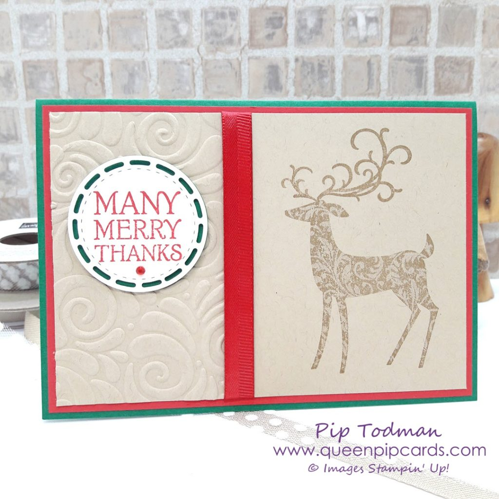 Many Merry Thanks with Dashing Deer card! Christmas? Or Thank you? Dashing Deer covers them both! Check out my YouTube video on this cute card and half embossing technique!  All Stampin' Up! products are / will be available from my online store here: http://bit.ly/QPCShop  Pip Todman Crafty Coach & Stampin' Up! Top UK Demonstrator Queen Pip Cards www.queenpipcards.com Facebook: fb.me/QueenPipCards  #queenpipcards #simplystylish #inspiringyourcreativity #stampinup #papercraft