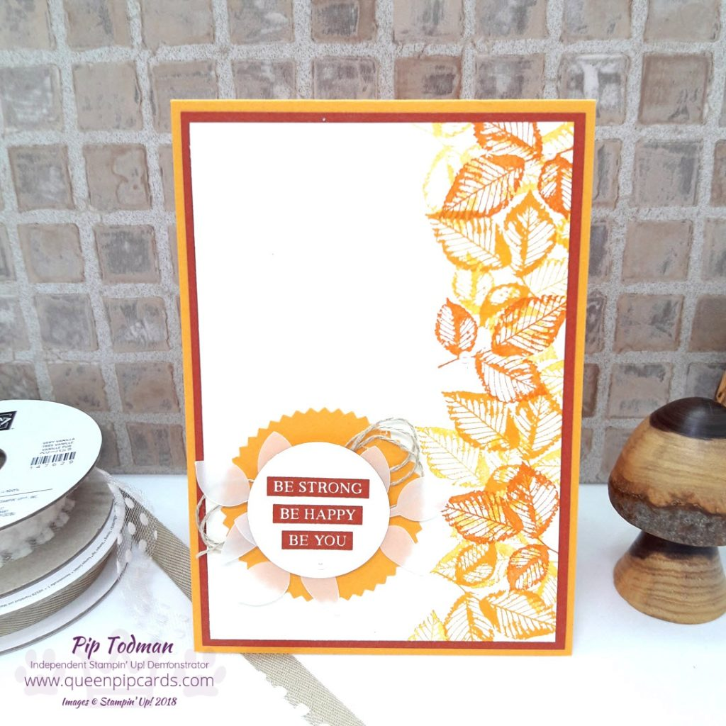 "My Autumn inspired card is with the Rooted In Nature stamp set from Stampin' Up! It has all the warmth of summer with the colours of autumn. Quick and easy to make, great for a ""just because"" card! #simplestamping project! All Stampin' Up! products are / will be available from my online store here: http://bit.ly/QPCShop Pip Todman Crafty Coach & Stampin' Up! Top UK Demonstrator Queen Pip Cards www.queenpipcards.com Facebook: fb.me/QueenPipCards #queenpipcards #simplystylish #inspiringyourcreativity #stampinup #papercraft"