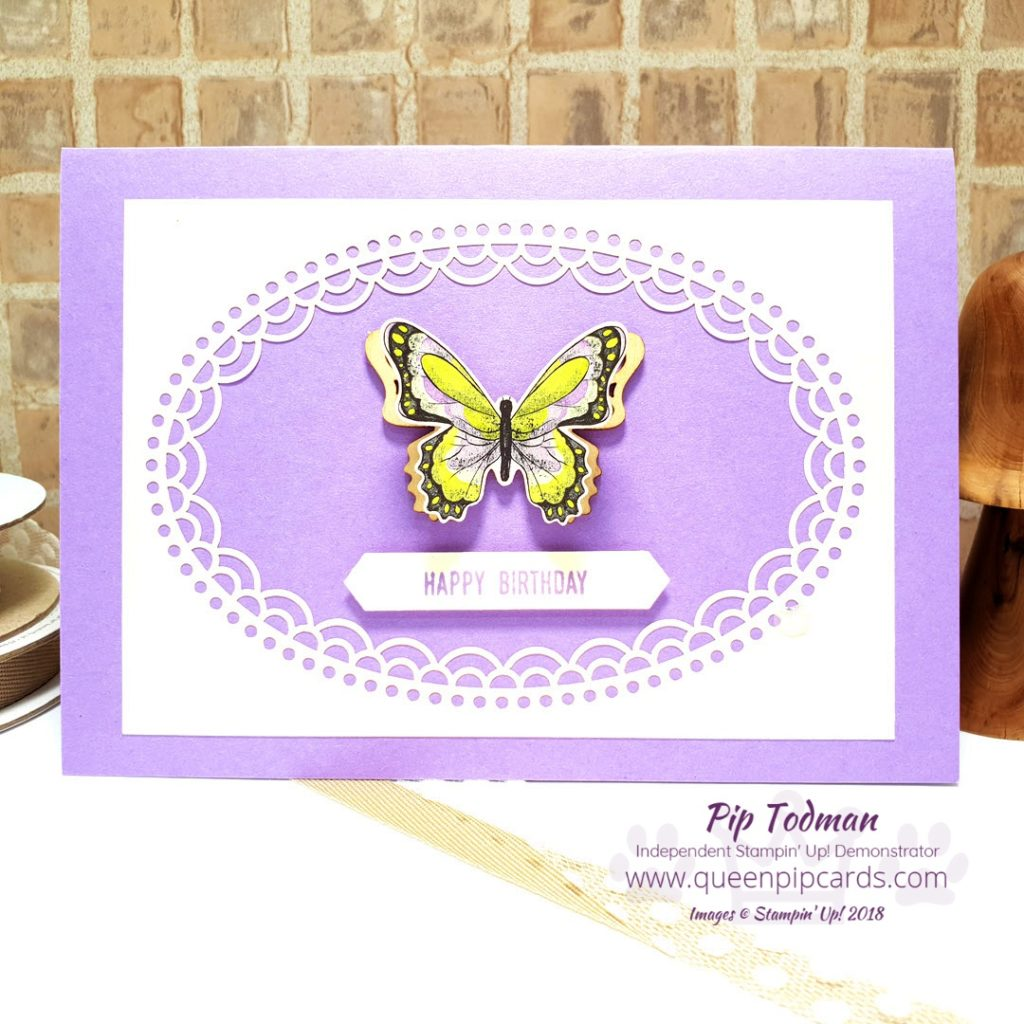 Butterflies Galore with Sale-a-bration this year! Oh my word, have you seen the beautiful papers and wooden elements you can earn for FREE with every £45 product purchase? They're beautiful! All the details on this card are on my blog - just click the link. All Stampin' Up! products are / will be available from my online store here: http://bit.ly/QPCShop Pip Todman Crafty Coach & Stampin' Up! Top UK Demonstrator Queen Pip Cards www.queenpipcards.com Facebook: fb.me/QueenPipCards #queenpipcards #simplystylish #inspiringyourcreativity #stampinup #simplestamping #papercraft