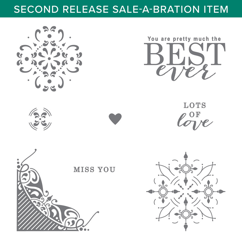 All Adorned the new Sale-a-bration stamp set is a great background for this get well card. Shop my online store here: http://bit.ly/QPCShop Pip Todman www.queenpipcards.com #queenpipcards #simplystylish #stampinup #simplestamping #papercraft