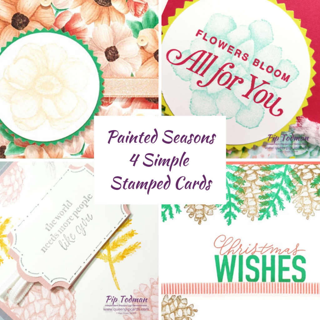 Stamped Cards with Painted Seasons - walk through the year with me! So pretty but also simple to create! Shop my online store here: http://bit.ly/QPCShop Pip Todman www.queenpipcards.com #queenpipcards #simplystylish #stampinup #simplestamping #papercraft