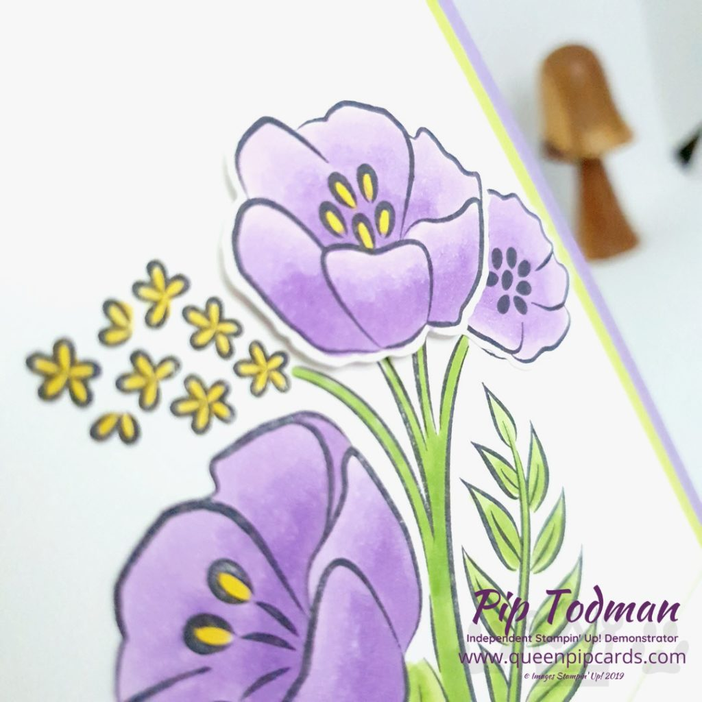 All That You Are stamps used to make Thank You cards inspired by the colours of Violas! Gorgeous purples and yellows with bright green stems! Pip Todman www.queenpipcards.com Stampin' Up! Independent Demonstrator UK