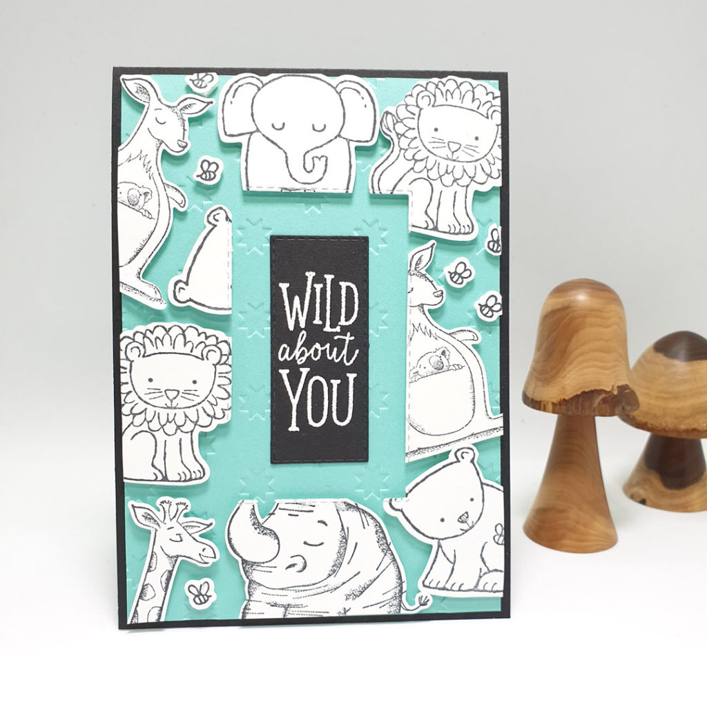 A Floating Frame card using A Little Wild and Animal Outing to create a great card for you man who loves wildlife or fo kids!. Pip Todman www.queenpipcards.com Stampin' Up! Independent Demonstrator UK