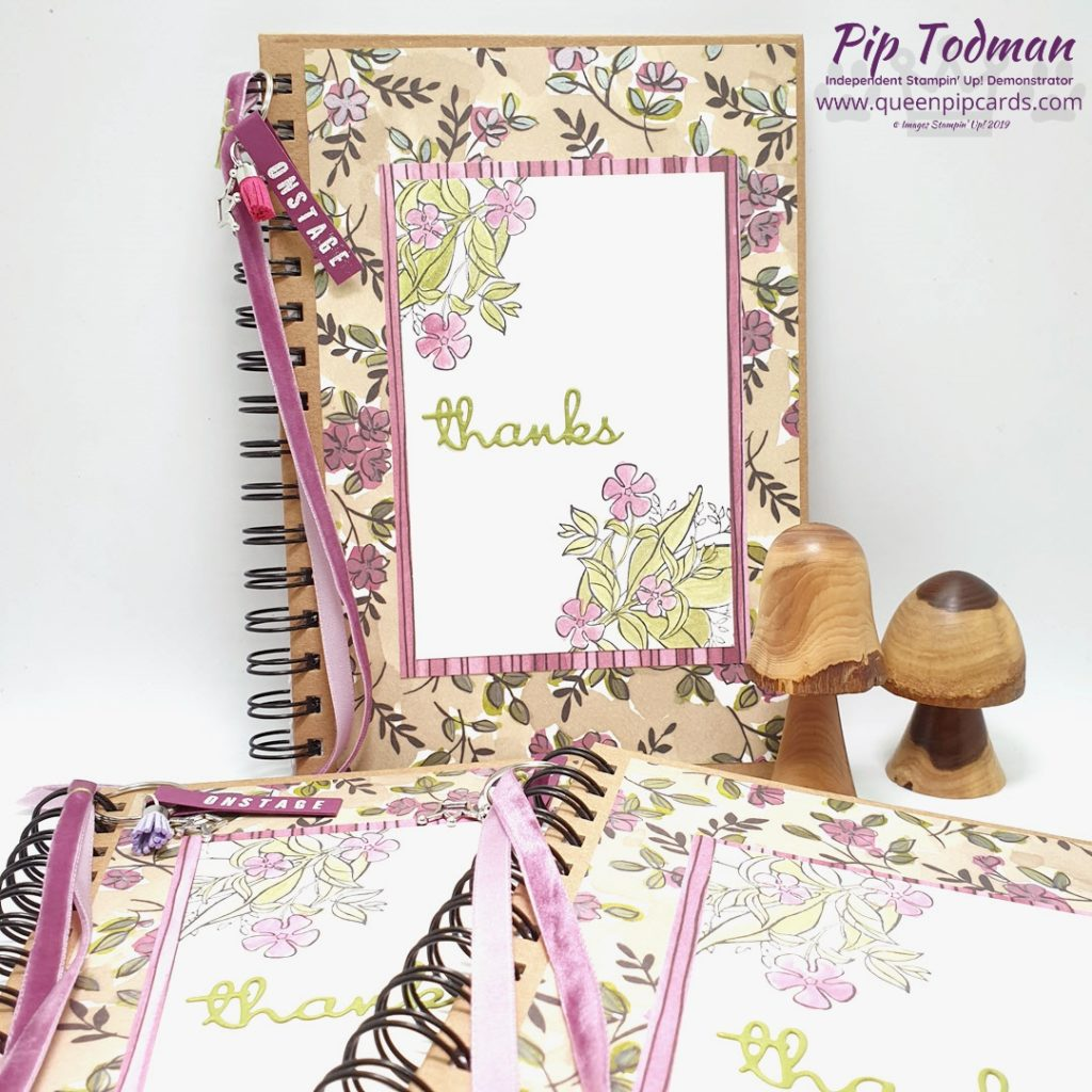 Thank You Notebook For OnStage Gifts is what I'm sharing here. A video showing how I put them together and what they were for! Pip Todman www.queenpipcards.com Stampin' Up! Independent Demonstrator UK