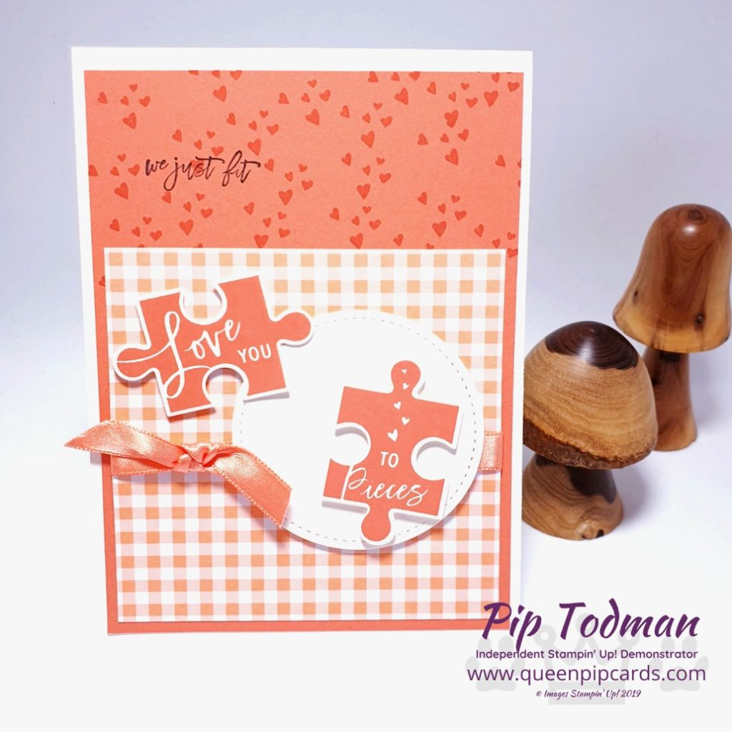 Love You To Pieces Jigsaw Card is my video tutorial today! I love this card and this set and I'm so pleased it's carrying over. Plus more Gingham Gala! Pip Todman www.queenpipcards.com Stampin' Up! Independent Demonstrator UK