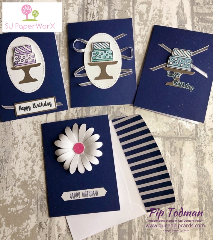 Quick and Simple Birthday Cards from Sue Hookins. Great dark, stunning cards! Pip Todman www.queenpipcards.com Stampin' Up! Independent Demonstrator UK
