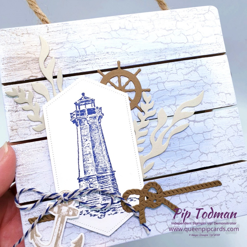A Wall Hanging with Sailing Home is my project for today. Made with a MDF wooden slatted hanging! Pip Todman www.queenpipcards.com Stampin' Up! Independent Demonstrator UK