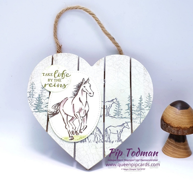 Door Hanging With Let It Ride. Dress up a wooden heart shaped plaque quickly and easily with Stampin' Up! stamps. Pip Todman www.queenpipcards.com Stampin' Up! Independent Demonstrator UK