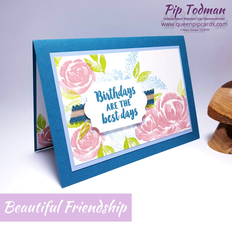Create an Easy Watercolour Effect for your cards with Beautiful Friendship stamps. Gorgeous in all colours! Pip Todman www.queenpipcards.com Stampin' Up! Independent Demonstrator UK