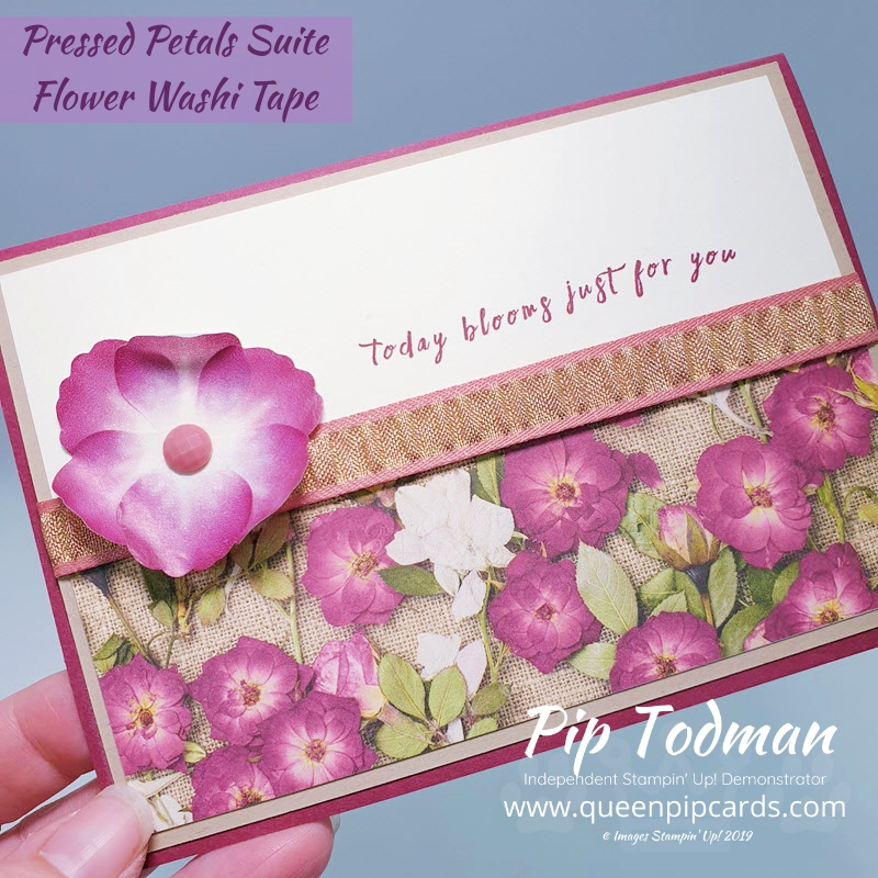 2 Pretty Pressed Petals Cards and how to make them via my FB Live video. Pip Todman www.queenpipcards.com Stampin' Up! Independent Demonstrator UK