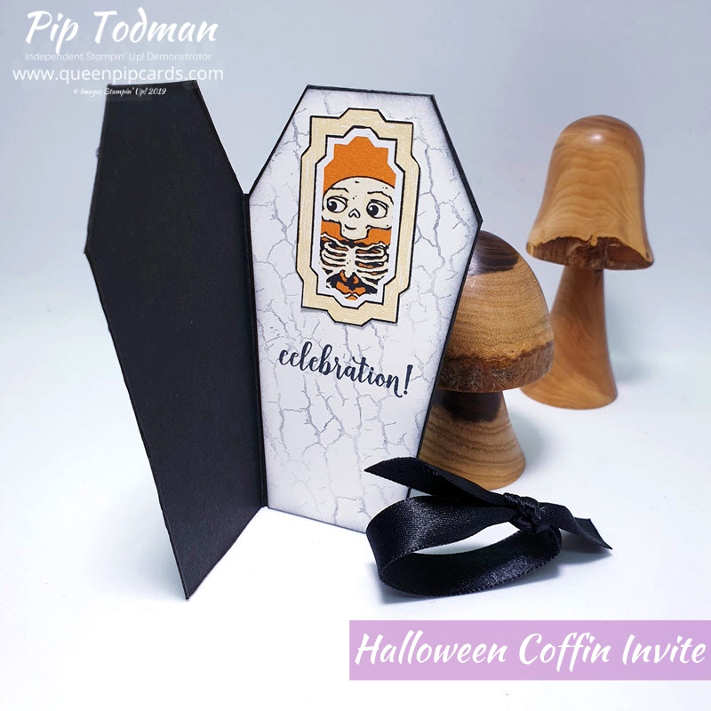 """data-pin-description=""""Cute Halloween Invitation Coffin Card to match last week's Coffin Treat Box!! Pip Todman www.queenpipcards.com Stampin' Up! Independent Demonstrator UK #queenpipcards #simplystylish #stampinup #simplestamping #papercraft """" data-pin-url=""""https://www.queenpipcards.com/2019/09/24/halloween-invitation-coffin-card/"""""""