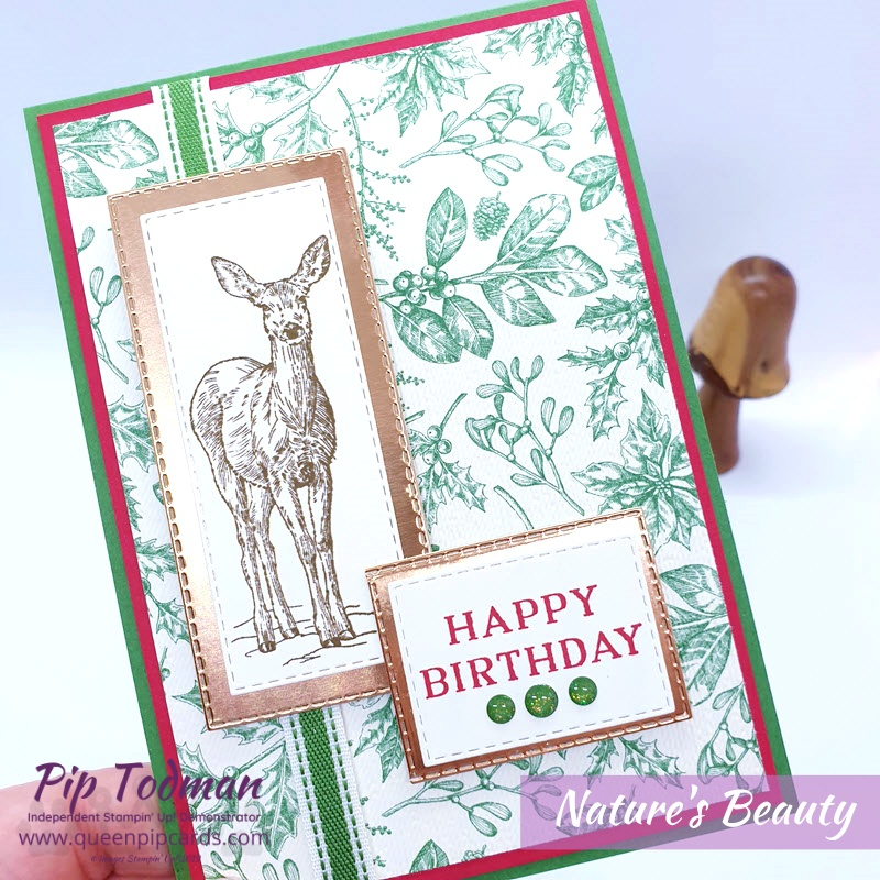 It's Goodbye Greece Hello Maui this month in our last blog hop of the Achievers' Year! This time I paired Nature's Beauty with Toile Christmas papers for a Birthday Card! Pip Todman www.queenpipcards.com Stampin' Up! Independent Demonstrator UK