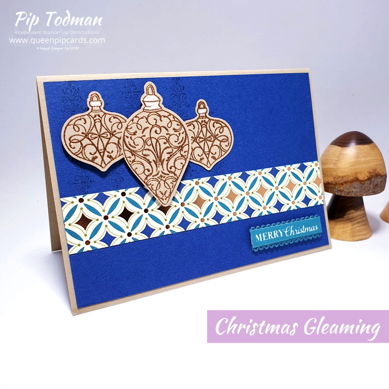 The new Autumn / Winter Catalogue is LIVE and I'm sharing the Brightly Gleaming baubles card I made with Heat Embossing! Pip Todman www.queenpipcards.com Stampin' Up! Independent Demonstrator UK