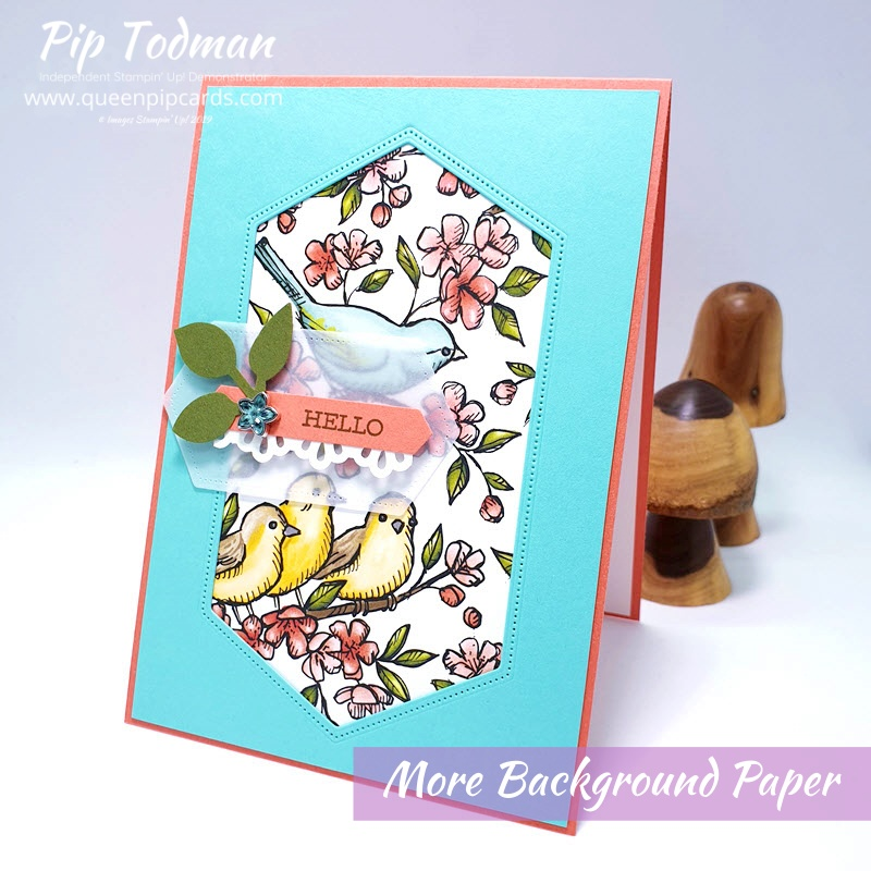 More Ideas For Background Papers with Bird Ballard and Nesting Label dies. Pip Todman www.queenpipcards.com Stampin' Up! Independent Demonstrator UK