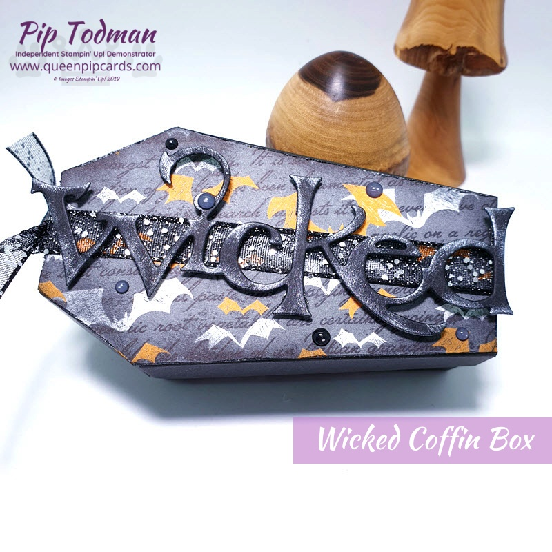 Wicked Coffin Box for Halloween treats - no tricks here! Check out how to make this cute Halloween gift in my video tutorial today! Pip Todman www.queenpipcards.com Stampin' Up! Independent Demonstrator UK