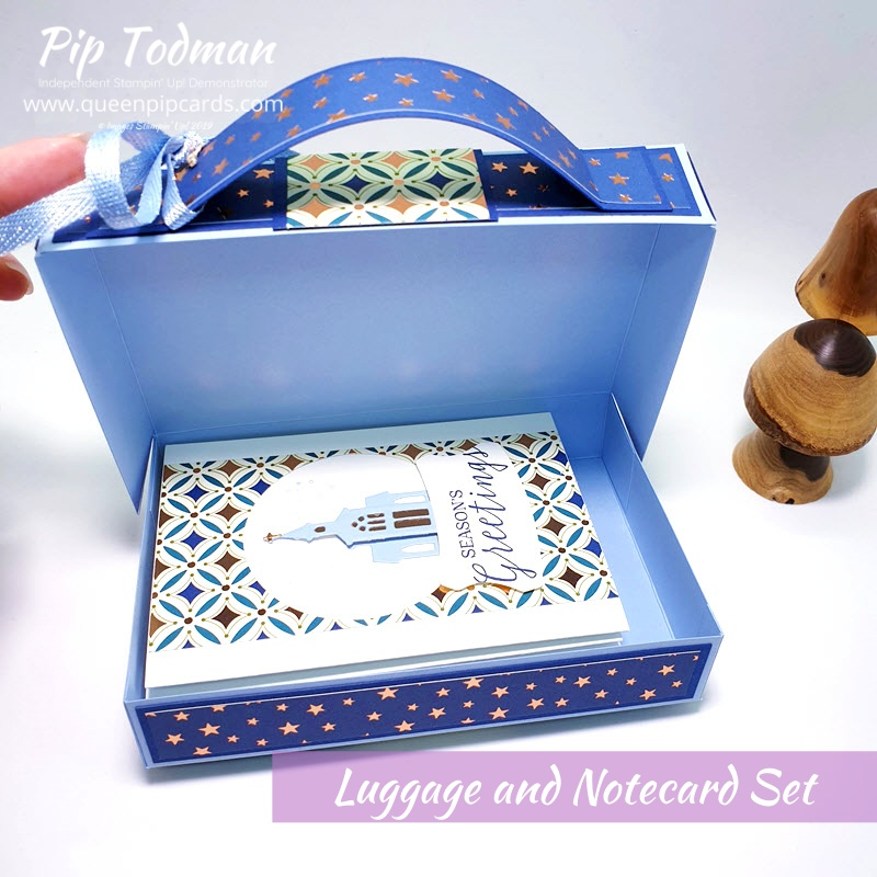 Festive Luggage and Notecard Set tutorial now available for this adorable project which makes a lovely gift for someone special. Pip Todman www.queenpipcards.com Stampin' Up! Independent Demonstrator UK
