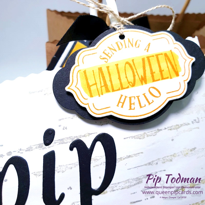 Quick Personalised Treat Bags for Halloween or any occasion! So easy with the Hand-lettered Prose Dies. Pip Todman www.queenpipcards.com Stampin' Up! Independent Demonstrator UK