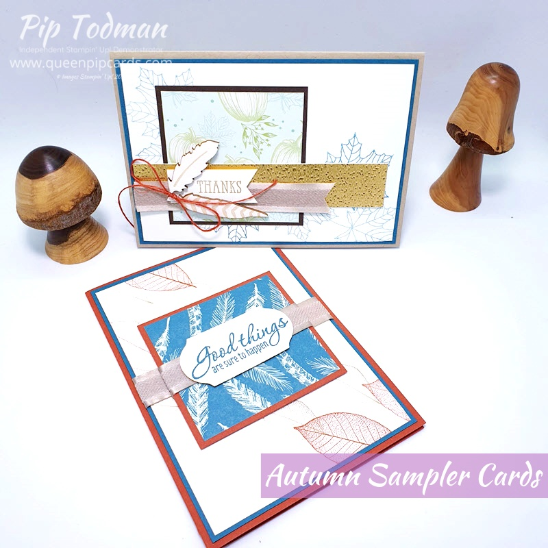 Autumn Sampler and cards video shows how I make 2 cards using the ideas from my Sampler with Come to Gather papers. Pip Todman www.queenpipcards.com Stampin' Up! Independent Demonstrator UK