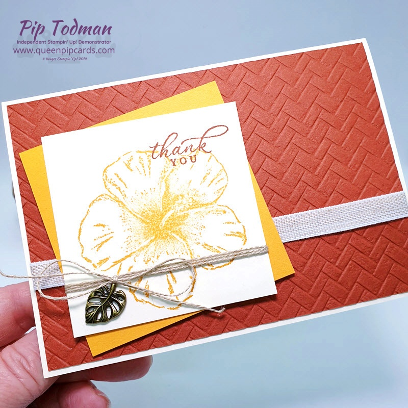 Coastal Weave Embossing Folder Meets Timeless Tropical - a gorgeous texture for your thank you cards. Pip Todman www.queenpipcards.com Stampin' Up! Independent Demonstrator UK