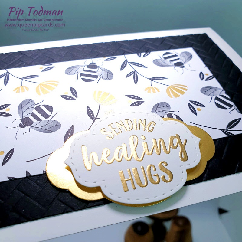 Heat Embossing So Sentimental with Gold and Black! Such classic colours, plus bees! Cute! Pip Todman www.queenpipcards.com Stampin' Up! Independent Demonstrator UK