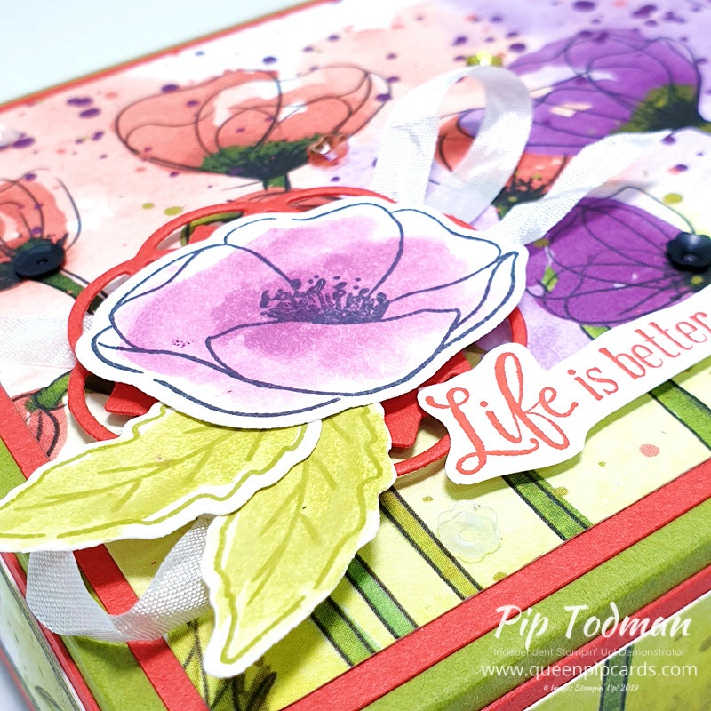 Stunning Card & Gift Box set with Peaceful Poppies Designer Series Paper for our monthly hop! Pip Todman www.queenpipcards.com Stampin' Up! Independent Demonstrator UK