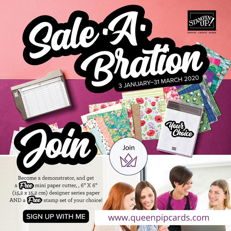 The new 2020 Mini and Sale-a-bration promotion are available from today! Pip Todman www.queenpipcards.com Stampin' Up! Independent Demonstrator UK